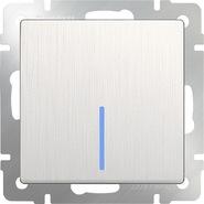 Выключатель проходной 1 кл, с подсветкой, WL13-SW-1G-2W-LED - перламутровый рифленый, Werkel