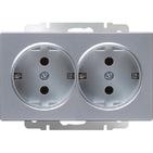 Розетка двойная с заземлением, WL06-SKG-02-IP20 - серебряный, Werkel
