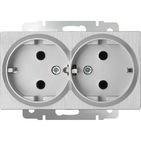 Розетка двойная с заземлением, WL09-SKG-02-IP20 - серебряный рифленый, Werkel