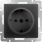 Розетка с заземлением, безвинтовой зажим, WL08-10-01 - черный матовый, Werkel
