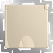 Розетка влагозащищенная с заземлением, крышкой, шторками, WL11-SKGSC-01-IP44 - шампань, Werkel
