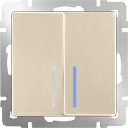 Выключатель проходной 2 кл, с подсветкой, WL11-SW-2G-2W-LED - шампань, Werkel