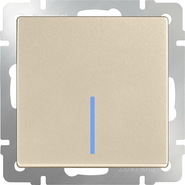 Выключатель проходной 1 кл, с подсветкой, WL11-SW-1G-2W-LED - шампань, Werkel