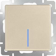 Выключатель 1 кл, с подсветкой, WL11-SW-1G-LED - шампань, Werkel