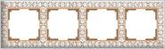 Рамка на 4 поста, WL07-Frame-04 - белое золото, металл, Werkel Antik