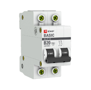 Автоматический выключатель 2P B20 4,5кА EKF Basic  ВА 47-29