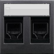 Розетка комбинированная: телефонная + компьютерная 5E ABB Zenit антрацит