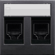 Розетка комбинированная: телефонная + компьютерная 6UTP ABB Zenit антрацит (2017.2 + 2018.6 + N2218.2 AN)