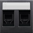 Розетка компьютерная 8 контактов двойная, категория 5Е ABB Zenit антрацит (2 х 2018.5 + N2218.2 AN)