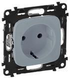 Электрическая розетка с заземлением с защитными шторками, автоматические клеммы, алюминий, Legrand Valena Allure (753030/755207)