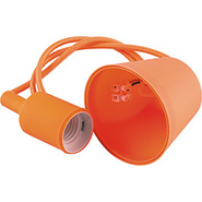 Патрон 60x45, провод 1м, 230V, E27, LH127 - оранжевый, Feron