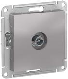 Розетка ТВ проходная 4DB, механизм - алюминий, Schneider Atlas Design