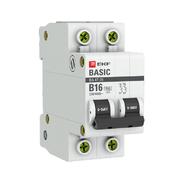 Автоматический выключатель 2P B16 4,5кА EKF Basic  ВА 47-29