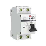 Дифавтомат 2P (1P+N) C50 30мА АС 4,5кА EKF Basic АД-12
