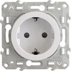 Розетка с заземлением со шторками, Schneider Electric Odace белый (S52R037)