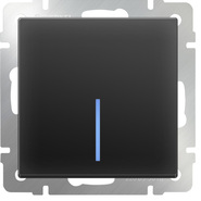 Выключатель 1 кл, с подсветкой, WL08-SW-1G-LED - черный матовый, Werkel