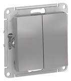 Выключатель 2 кл, сх.5, 10АХ, механизм - алюминий, Schneider Atlas Design