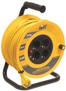 20м 4гн Удлинитель на катушке силовой 4 розетки шнур 20м ПВС 3x1 УК20 с термозащитой IEK (WKP14-10-04-20)