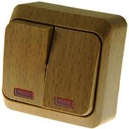 ЭТЮД Выключатель двухклавишный наружный с подсветкой Бук (BA10-006T)