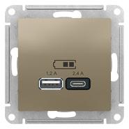 USB розетка A+С, 5В/2,4А, 2х5В/1,2А, механизм - шампань, Schneider Atlas Design