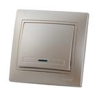 Выключатель одноклавишный с подсветкой Жемчужно-белый металик Lezard MIRA