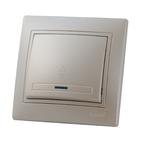 Выключатель одноклавишный проходной с подс. Жемчужно-белый металик Lezard MIRA