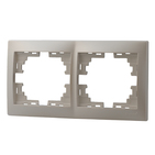 Рамка 2 поста горизонтальная Жемчужно-белый металик Lezard MIRA