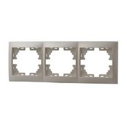 Рамка 3 поста горизонтальная Жемчужно-белый металик Lezard MIRA
