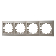 Рамка 4 поста горизонтальная  Жемчужно-белый металик Lezard MIRA