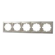 Рамка 5 постов горизонтальная Жемчужно-белый металик Lezard MIRA