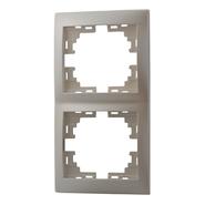 Рамка 2 поста вертикальная Жемчужно-белый металик Lezard MIRA