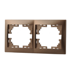 Рамка 2 поста горизонтальная Светло-коричневый металлик Lezard MIRA
