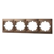 Рамка 4 поста горизонтальная Светло-коричневый металлик Lezard MIRA