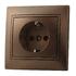 Розетка с заземлением cо шторкой Светло-коричневый металлик Lezard MIRA