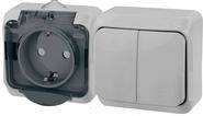 ЭТЮД Блок Выключатель двухклавишный/Розетка наружная с заземлением со шторками IP44 серый (BPA16-242C)