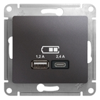 USB розетка A+С, 5В/2,4А, 2х5В/1,2 А, механизм - графит, Schneider Glossa