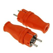 Вилка оранжевая каучуковая прямая с заземлением IP44 T-Plast