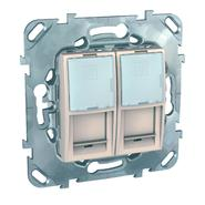 Розетка компьютерная 2хRJ45 в рамку категория 5е бежевая Schneider Electric/Unica MGU5.2020.25ZD