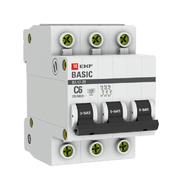 Автоматический выключатель 3P C6 4,5кА EKF Basic  ВА 47-29