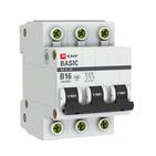 Автоматический выключатель 3P B16 4,5кА EKF Basic  ВА 47-29