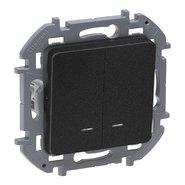 Выключатель 2 кл с подсветкой, 10 AX, 250 В - антрацит INSPIRIA 673633