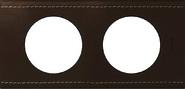 Legrand Celiane Двухместная рамка (кожа коричневая)