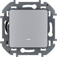 Переключатель проходной 1 кл с подсветкой, 10 AX, 250 В - алюминий INSPIRIA 673662