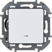 Переключатель проходной 1 кл с подсветкой, 10 AX, 250 В - белый INSPIRIA 673660