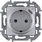 Розетка с заземлением, со встроенным зарядным устройством USB C 1.5А 5В - алюминий INSPIRIA 673772