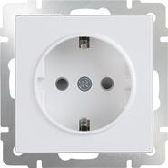 Розетка с заземлением, шторками WL01-SKGS-01-IP44 - белый, Werkel