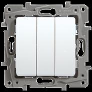 Выключатель трехклавишный - белый, Legrand Etika