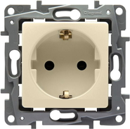 Розетка 1 гнездо с заземлением - 2К+З - слоновая кость, Legrand Etika 672321