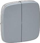 Лицевая панель для двухклавишного выключателя, светлая сталь, Legrand Valena Allure (755023)