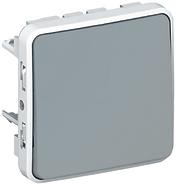 Plexo Выключатель/переключатель IP55 проходной одноклавишный в рамку серый 69511